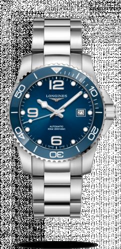 Longines L3.781.4.96.6 : HydroConquest 41 Automatic Stainless Steel / Ceramic / Blue / Bracelet