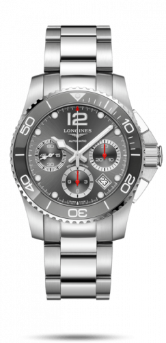 Longines L3.783.4.76.6 : HydroConquest 41 Automatic Chronograph Stainless Steel / Ceramic / Grey / Bracelet