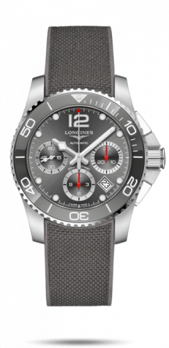 Longines L3.783.4.76.9 : HydroConquest 41 Automatic Chronograph Stainless Steel / Ceramic / Grey / Rubber