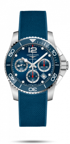 Longines L3.783.4.96.9 : HydroConquest 41 Automatic Chronograph Stainless Steel / Ceramic / Blue / Rubber