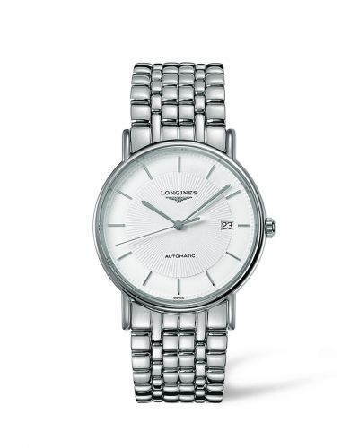 L4.921.4.18.6 : Longines Presence 38.5 Automatic Stainless Steel / White / Bracelet
