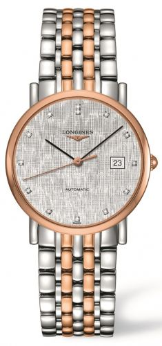 Longines L4.809.5.77.7 : Elegant Collection 34.5 Automatic Stainless Steel / Red Gold / Silver