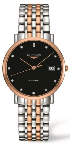 Longines L4.810.5.57.7 : Elegant Collection Automatic 37 Stainless Steel / Red Gold / Black