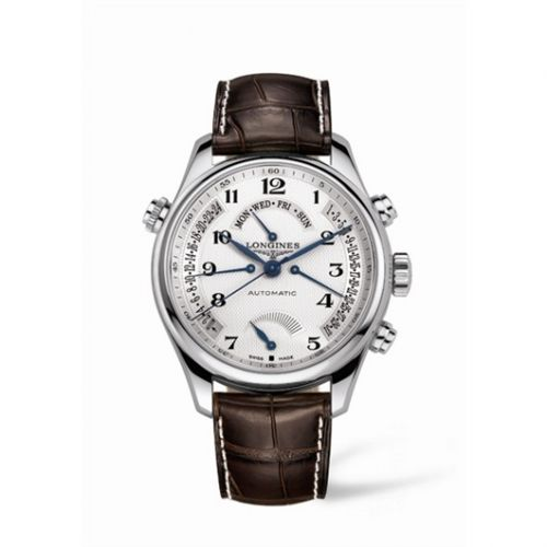 Longines L2.716.4.78.3 : Master Collection 44 Retrograde Power Reserve Stainless Steel / Silver-Arabic / Alligator
