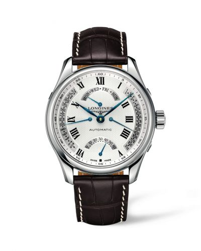 Longines L2.717.4.71.5 : Master Collection 44 Retrograde Stainless Steel / Silver-Roman / Alligator XL