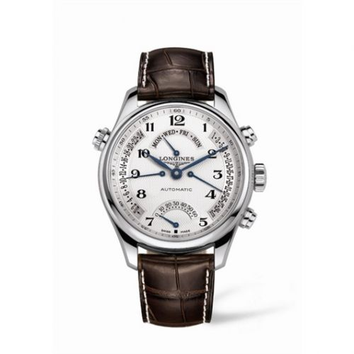 Longines L2.717.4.78.3 : Master Collection 44 Retrograde Stainless Steel / Silver-Arabic / Alligator XL