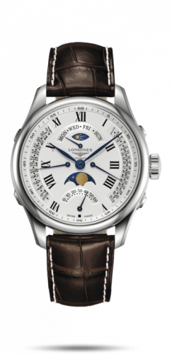 Longines L2.738.4.71.3 : Master Collection 41 Retrograde Moonphase Stainless Steel / Silver-Roman / Alligator