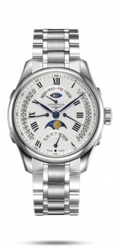 Longines L2.738.4.71.6 : Master Collection 41 Retrograde Moonphase Stainless Steel / Silver-Roman / Bracelet