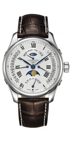 Longines L2.739.4.71.3 : Master Collection 44 Retrograde Moonphase Stainless Steel / Silver-Roman / Alligator
