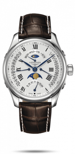 Longines L2.739.4.71.5 : Master Collection 44 Retrograde Moonphase Stainless Steel / Silver-Roman / Alligator XL