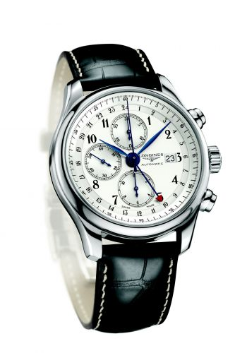 Longines L2.740.4.73.3 : Master Collection 44 Chronograph Stainless Steel / Silver-Arabic / Alligator / 100th anniversary of the Republic of Portugal