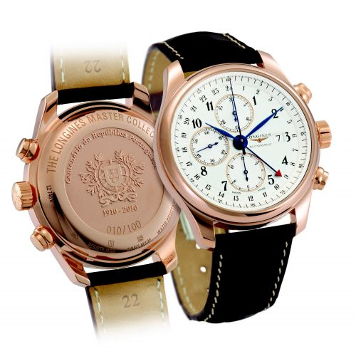 Longines L2.740.8.73.3 : Master Collection 44 Chronograph Pink Gold / Silver-Arabic / Alligator / 100th anniversary of the Republic of Portugal