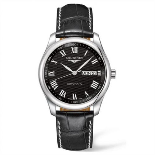 Longines L2.755.4.51.8 : Master Collection 38.5 Day Date Stainless Steel / Black-Roman / Alligator