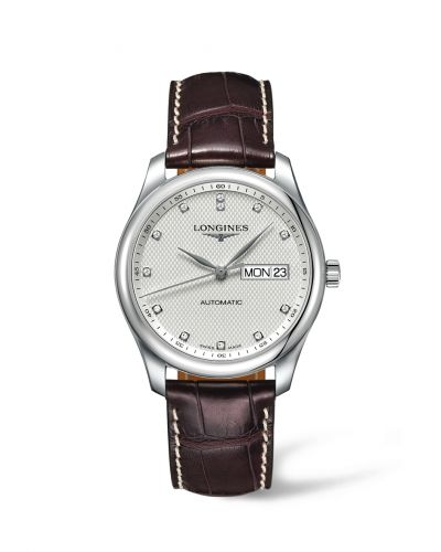 Longines L2.755.4.77.5 : Master Collection 38.5 Day Date Stainless Steel / Silver-Diamond / Alligator XL