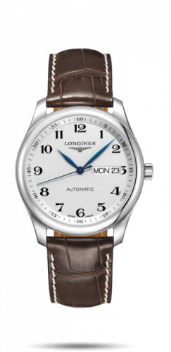 Longines L2.755.4.78.5 : Master Collection 38.5 Day Date Stainless Steel / Silver-Arabic / Alligator XL