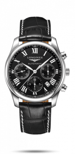 Longines L2.759.4.51.8 : Master Collection 42 Chronograph Stainless Steel / Black-Roman / Alligator XL