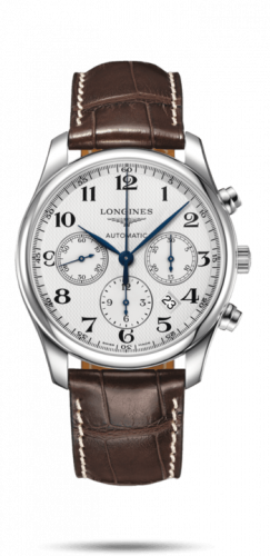 Longines L2.759.4.78.5 : Master Collection 42 Chronograph Stainless Steel / Silver-Arabic / Alligator XL