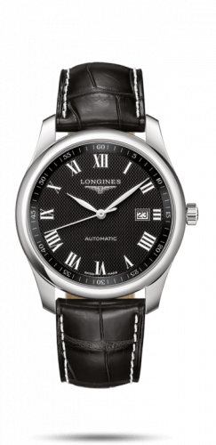 Longines L2.793.4.51.8 : Master Collection 40 Date Stainless Steel / Black-Roman / Alligator XL