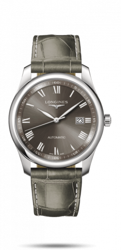 Longines L2.793.4.71.3 : Master Collection 40 Date Stainless Steel / Grey Roman / Alligator