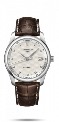 Longines L2.793.4.77.5 : Master Collection 40 Date Stainless Steel / Silver-Diamond / Alligator XL