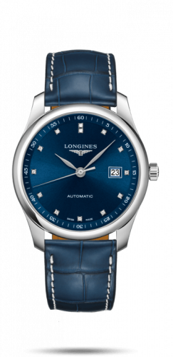 Longines L2.793.4.97.2 : Master Collection 40 Date Stainless Steel / Blue-Diamond / Alligator XL