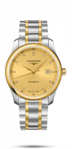 Longines L2.793.5.37.7 : Master Collection 40 Date Stainless Steel / Yellow Gold / Champagne-Diamond / Alligator