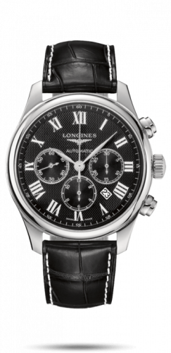 Longines L2.859.4.51.8 : Master Collection 44 Chronograph Stainless Steel / Black-Roman / Alligator XL