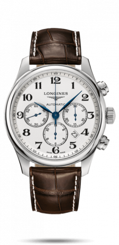 Longines L2.859.4.78.3 : Master Collection 44 Chronograph Stainless Steel / Silver-Arabic / Alligator