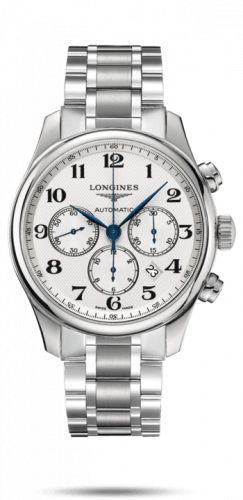 Longines L2.859.4.78.6 : Master Collection 44 Chronograph Stainless Steel / Silver-Arabic / Bracelet