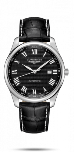 Longines L2.893.4.51.8 : Master Collection 42 Date Stainless Steel / Black-Roman / Alligator XL