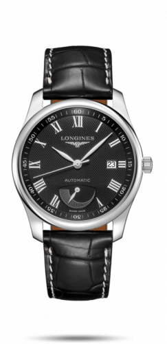 Longines L2.908.4.51.7 : Master Collection 40mm Power Reserve Stainless Steel / Black-Roman / Alligator