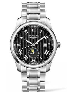 Longines L2.909.4.51.6 : Master Collection 40 Moonphase Stainless Steel / Black-Roman / Bracelet