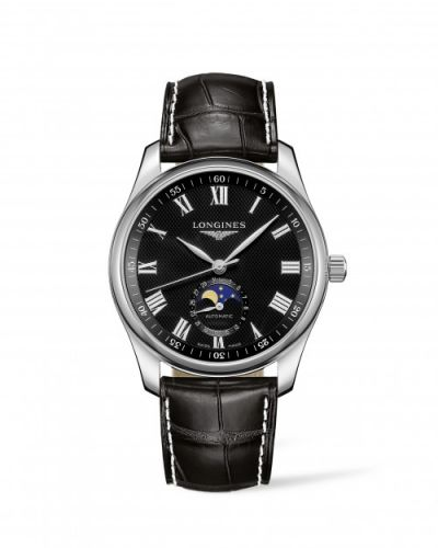 Longines L2.909.4.51.7 : Master Collection 40 Moonphase Stainless Steel / Black-Roman / Alligator