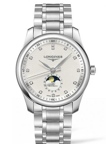Longines L2.909.4.77.6 : Master Collection 40 Moonphase Stainless Steel / Silver-Diamond / Bracelet