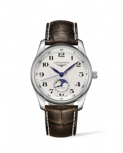 Longines L2.909.4.78.3 : Master Collection 40 Moonphase Stainless Steel / Silver-Arabic / Alligator