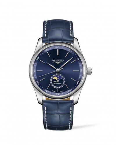 Longines L2.909.4.92.0 : Master Collection 40 Moonphase Stainless Steel / Blue / Alligator