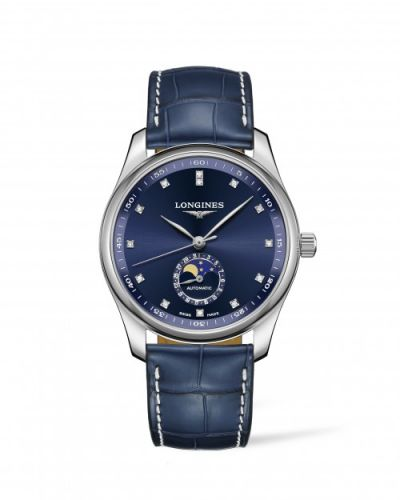 Longines L2.909.4.97.0 : Master Collection 40 Moonphase Stainless Steel / Blue-Diamond / Alligator