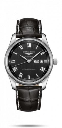 Longines L2.910.4.51.7 : Master Collection 40mm Annual Calendar Stainless Steel / Black-Roman / Alligator