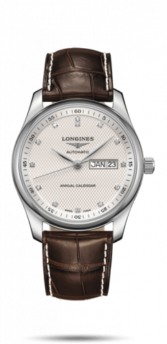 Longines L2.910.4.77.3 : Master Collection 40mm Annual Calendar Stainless Steel / Silver-Diamond / Alligator
