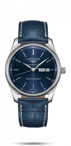 Longines L2.910.4.92.0 : Master Collection 40mm Annual Calendar Stainless Steel / Blue / Alligator