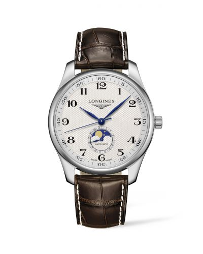 Longines L2.919.4.78.3 : Master Collection 42 Moonphase Stainless Steel / Silver-Arabic / Alligator