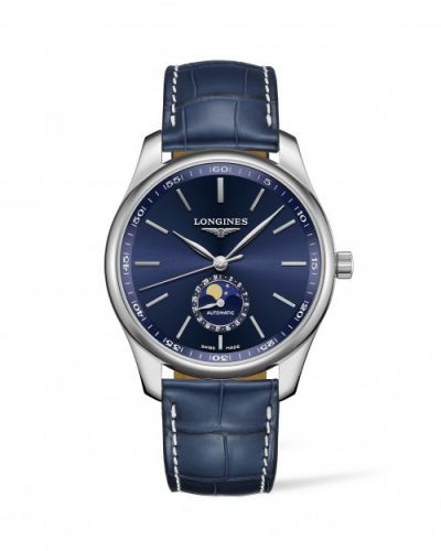 Longines L2.919.4.92.2 : Master Collection 42 Moonphase Stainless Steel / Blue / Alligator XL