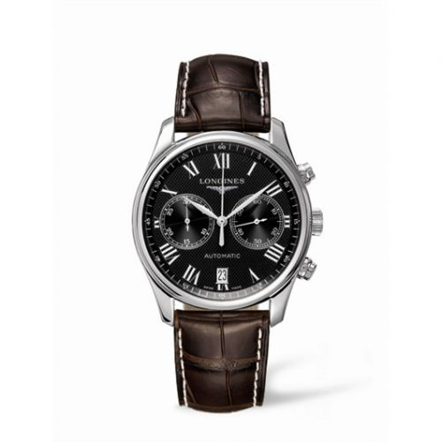 Longines L2.629.4.51.5 : Master Collection Chronograph 40 Stainless Steel / Black - Roman / Strap