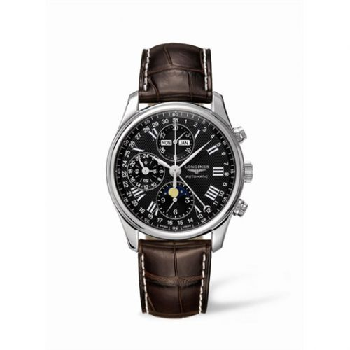 Longines L2.673.4.51.5 : Master Collection 40 Chronograph Calendar Stainless Steel / Black / Strap