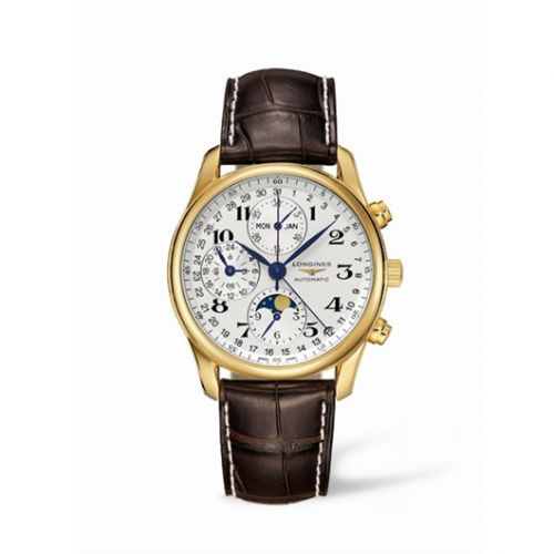 Longines L2.673.6.78.5 : Master Collection 40 Chronograph Calendar Yellow Gold / Silver / Strap