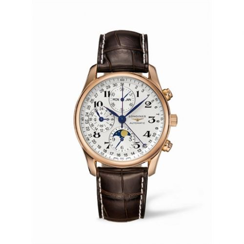 Longines L2.673.8.78.3 : Master Collection 40 Chronograph Calendar Pink Gold / Silver / Strap