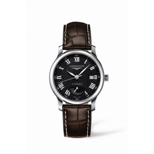 Longines L2.708.4.51.5 : Master Collection 38.5mm Power Reserve Stainless Steel / Black-Roman / Alligator