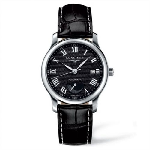 Longines L2.708.4.51.7 : Master Collection 38.5mm Power Reserve Stainless Steel / Black-Arabic / Alligator