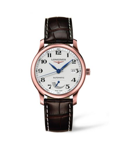 Longines L2.708.8.78.3 : Master Collection 38.5mm Power Reserve Pink Gold / Silver-Arabic / Alligator
