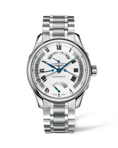 Longines L2.716.4.71.6 : Master Collection 44 Retrograde Power Reserve Stainless Steel / Silver-Roman / Bracelet